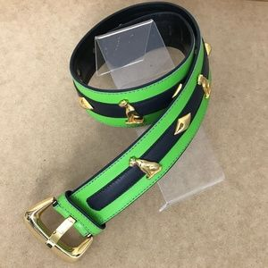 Escada Lime Green & Black Leather Belt Size 40